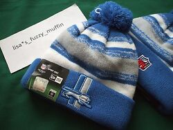 Detroit Lions New Era Knit Pom Hat Beanie New Nfl On Field 100 Auth.throwback
