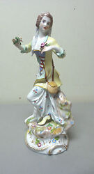 Beautiful Antique Dresden Saxonyporcelain 10.25 Lady Figurine With Lamb