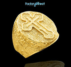Menand039s Solid Gold The Russian Eastern Orthodox Cross Ring King Of Glory
