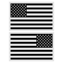 Black American Flag Reflective Regular Reversed Two Large Decals Stickers