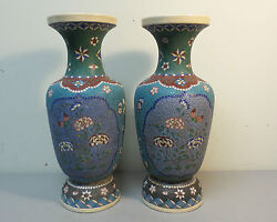 Pair Large Antique Japanese Cloisonne Enamel On Pottery 12 Vases C. 1870and039s
