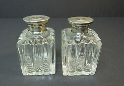 Beautiful Pair Of Antique Cologne / Perfume Bottles Sterling Partial Gilt Tops
