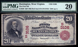 20 1902 Red Seal The First National Bank Of Huntington, Wv Ch 3106 Pmg 20