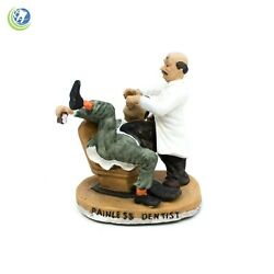 Classic Vintage Figurine Dentist Performing Painless Extraction On Patient Ouch
