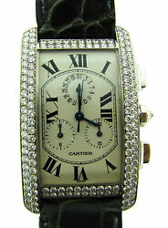 CARTIER TANK SWISS MADE 18K WHITE GOLD WATER RESISTANT WATCH DIAMOND