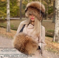 Russian Raccoon Fur Hat And Hand-muff. Set Of Chapka And Muff In Gold Brown Color.
