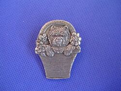 Cairn Terrier or Westie in a Basket Pin #70A DOG jewelry by Cindy A. Conter