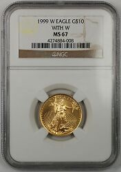 1999-w Emergency Issue 10 Dollar Gold Eagle Age 1/4 Oz Coin Ngc Ms-67