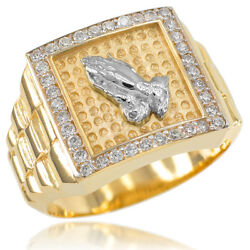 New 14k Gold Watchband Design Menand039s Religious Praying Hands Cz Ring