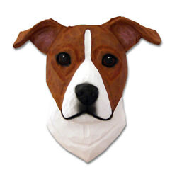 Am.Staffordshire Terrier Head Plaque Figurine Red White Uncropped