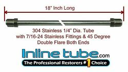 1/4 Brake Line 18 Inch Stainless Steel 7/16-24 Tube Nuts 45 Degree Double Flare