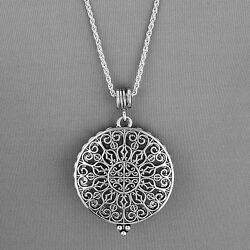 Silver Chain Vintage Byzantine Design 5 X Magnifying Glass Pendant Necklace