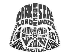 19 In. Star Wars Typographic Darth Vadar Peel And Stick Giant Wall Decal