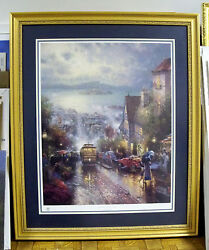 """Thomas Kinkade """"hyde Street And The Bay"""" Framed S/n Le Lithograph 971/3850"""