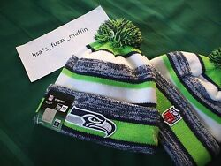 Seattle Seahawks New Era Knit Pom Hat Beanie New Tags Onfield Authentic 2014-15