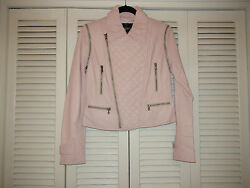 Bagatelle Light Pink Quilted Convertible Lambskin Leather Jacket Vest Moto