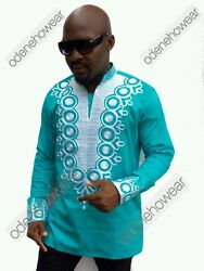 Odeneho Wear Menand039s Green Polished Cotton Top/white Embroidery. African Clothing