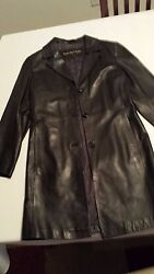 Knee Long Womanand039s Black Leather Jacket - Size S