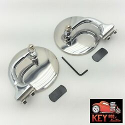 4 Round Curved Arm Stainless Side View Peep Mirrors Door Edge Mount Chevy Pair