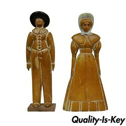 22 Pine Hand Carved Quaker Girl And Guy Couple Huffman Koos Statue Figurine Vtg