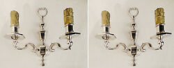 Antique english silverplated pair of sconces solid bronze chiseled 2 candles