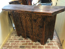 Hand Carved Bar With Bar Glass Storage Hutch One Of A Kind.