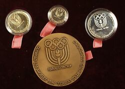 1984 Israel La Olympics 4 Pc Gold, Silver And Bronze State Medal Set W/ Case And Coa