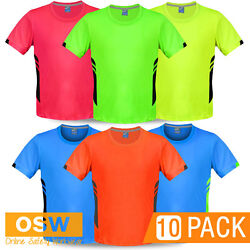 10 X Adults Mens Neon Sports Micro-knit Moisture Removal Jersey Sports Gym Tees