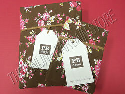 Pottery Barn Teen Sunwashed Floral Dorm Duvet Cover Full Queen FQ 2 Cases Coffee