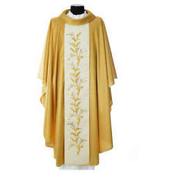 Gold Chasuble In Wool With Double Twisted Yarn And Embroidery