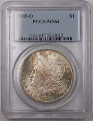 1885-o Us Morgan Silver Dollar Coin 1 Pcgs Ms-64 Toned Br5 S