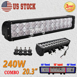 20inch 240w Led Work Light Bar Spot Flood Combo Driving Lamp Offroad Dural Row