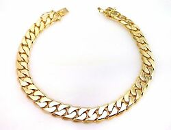 14k Solid Yellow Gold Cuban Link Menand039s Bracelet 41.6 G / 8.5 / 9 Mm