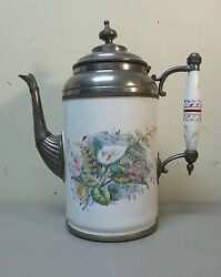 Nice 19th C. Pewter Trimmed Graniteware Coffee Pot, Floral Enameled Decoration