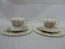 2 - Royal Doulton Arcadia English Fine Bone China Cup And Saucer And Desert Plate