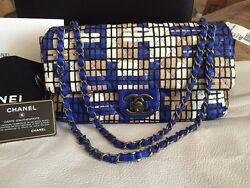 CHANEL LIMITED EDITION ROYAL BLUE HAND-WOVEN LEATHER FLAP BAG NWT RETAILS  $7,500.00