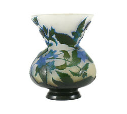 Emile Galle Art Glass Cameo Acid Etched Concaved Vase C1900 Iris Flower In Blue