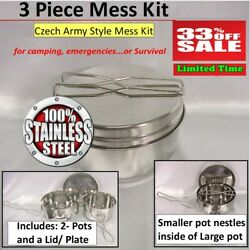 Camping Cookware Mess Kit Backpacking Gear amp; Hiking Outdoors Bug Out Bag Cook... $9.95