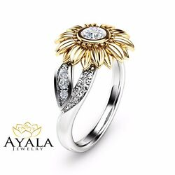 Unique Engagement Ring Natural Diamond Ring In 14k Two Tone Gold Sunflower Ring