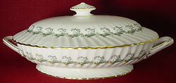 Minton China Ermine S694 Pattern Oval Covered Vegetable Serving Bowl With Lid