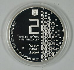 1999 Israel 2 New Sheqalim Silver Proof High Tech 51st Anniv. Coin As Issued