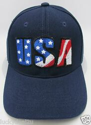 USA Ball Cap Hat US United States American Flag Old Glory Stars Stripes Navy New