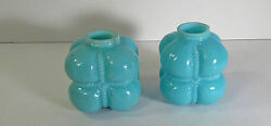 Pair Of Conoslidated Cotton Bale Blue Opaque Glass Shakers