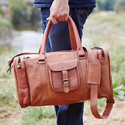 Fair Trade Handmade Large Brown Leather Holdall Zipped Pockets