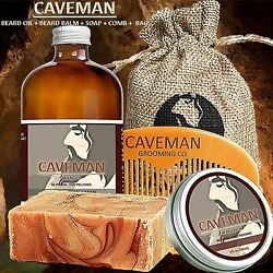 Hand Crafted Caveman® Beard Oil KIT Beard Balm FREE Comb Soap 15 Scents