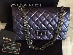 CHANEL METALLIC DARK BLUE QUILTED REISSUE 226 DOUBLE FLAP BAG AGED CALFSKIN MINT