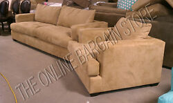 Pottery Barn Hampton Sofa Couch And Arm Chair Oat Everyday Suede Upholstered 2pc