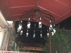 Hand Made Wrought Iron Chandelier With Bottles Of Corona Bear As Light Cover