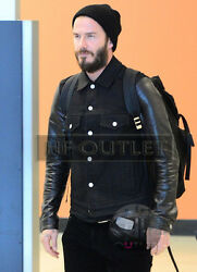 David Beckham Stylish Menand039s Casual Wear Denim With Real Leather Sleeves Jacket