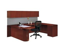 New Ruby Bullet U-shape Executive Office Desk With Wall Mounted Storage
